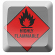 Stok fotoğraf: Highly flammable sign drawn on button