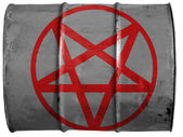 Pentagram symbol painted on oil barrel — Stock Photo