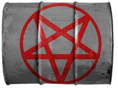 Pentagram symbolem maloval na barel ropy — Stock fotografie