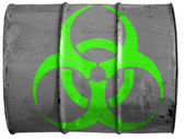 Biohazard sign painted on oil barrel — Stock Photo