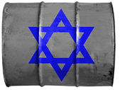 Jewish star painted on oil barrel — Stok fotoğraf