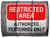 Restricted area sign painted on oil barrel — Stock Photo