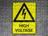 High voltage sign drawn at — Zdjęcie stockowe
