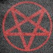 Stock Photo: Pentagram symbol painted on