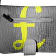 Pound sign painted on crocodile skin purse — Stock Photo