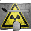 Stock Photo: Nuclear radiation sign drawn on crocodile skin purse