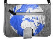 Globe painted on crocodile skin purse — Stock Photo