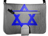 Jewish star painted on crocodile skin purse — Stock Photo