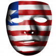 Stock Photo: Liberia. Liberiflag painted on theater plastic mask