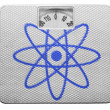 Stock Photo: Atom symbol painted on painted on balance