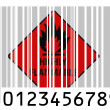 Stock Photo: Highly flammable sign drawn on painted on barcode surface