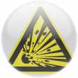 Explosive sign drawn on. Round glossy badge — Stock Photo #23404220