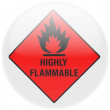 Stok fotoğraf: Highly flammable sign drawn on . Round glossy badge