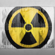 Stock Photo: Nuclear radiation symbol painted on painted on pills