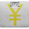 Yen sign painted on  painted on balance - Stock Photo