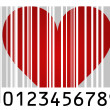Red Heart symbol   painted on barcode surface — Stock Photo