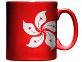 Drapeau de hong-hong peinte sur la tasse de café ou une tasse — Photo