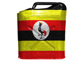 Uganda flag painted on gasoline can or gas canister — Stock Photo