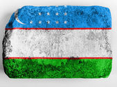Uzbekistan flag painted on brick — Stock Photo