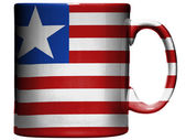 Liberia. Liberian flag painted on coffee mug or cup — Stock Photo