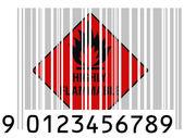 Barkod yüzeyinde oldukça yanıcı işareti çizilmiş boyalı — Stok fotoğraf