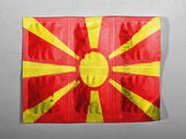 Macedonia flag painted on pills — Stockfoto