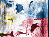 Philippine flag painted on grunge wall — Stock Photo