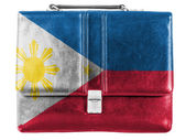 Philippine flag painted on small briefcaseor leather handbag — Stock Photo