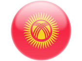 Kyrgyzstan flag . Round glossy badge — Stock Photo
