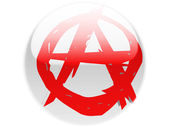 Anarchy symbol painted on. Round glossy badge — Stock Photo