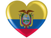 Ecuador flag painted on glossy heart icon — Stock Photo