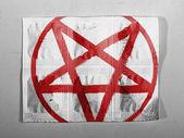 Pentagram symbol painted on painted on pills — Stock Photo