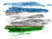 Uzbekistan flag painted on paper with colored charcoals — Stock Photo
