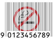No smoking sign painted on barcode surface — Stock Photo