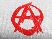 Anarchy symbol painted n painted on bubblewrap — Stock Photo