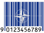 NATO symbol painted on barcode surface — Stock Photo