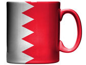 Bahrain. Bahraini flag painted on coffee mug or cup — Photo