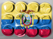 Ecuador flag painted on tablets or pills — Foto de Stock