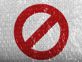 Forbidden sign painted on painted on bubblewrap — Stock Photo
