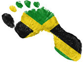 Jamaica flag painted in a shape of footprint — Stock Photo