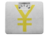 Segno di yen dipinta sul dipinto su equilibrio — Foto Stock