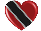 Trinidad and Tobago flag painted on glossy heart icon — Stock Photo