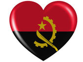 Angola. Angolan flag painted on glossy heart icon — Stock Photo