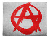 Anarchy symbol painted n painted on carton box — Stock fotografie