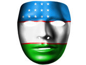 Uzbekistan flag painted on theater plastic mask — Stock Photo