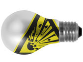 Explosive sign drawn on painted on lightbulb — Stock Photo