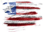 Liberia. Liberian flag painted on paper with colored charcoals — Stock Photo