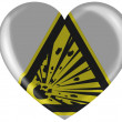Explosive sign drawn on painted on glossy heart icon - Stock Photo