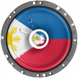 Stock Photo: Philippine flag painted on sound speaker