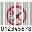 Stock Photo: No smoking sign painted on barcode surface
